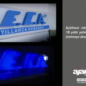 ECA ışıklı pleksi kutu harf uygulaması