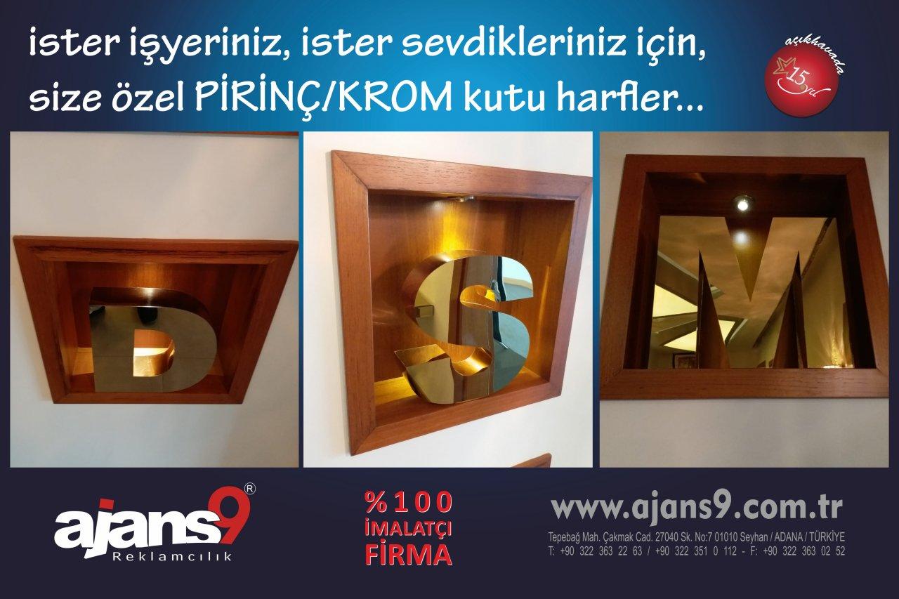 KROM / PİRİNÇ kutu harf imalatı